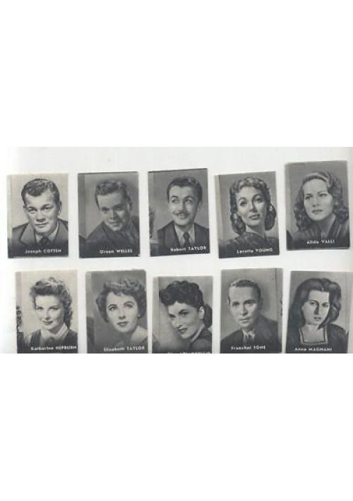 10 FIGURINE NANNINA 1952 ATTORI ATTRICI Anna Magnani Alida Valli  Lollobrigida
