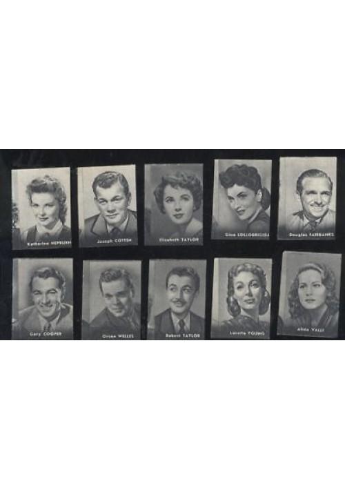 10 FIGURINE NANNINA 1952 ATTORI ATTRICI Orson Welles Elizabet Taylor Gary Cooper