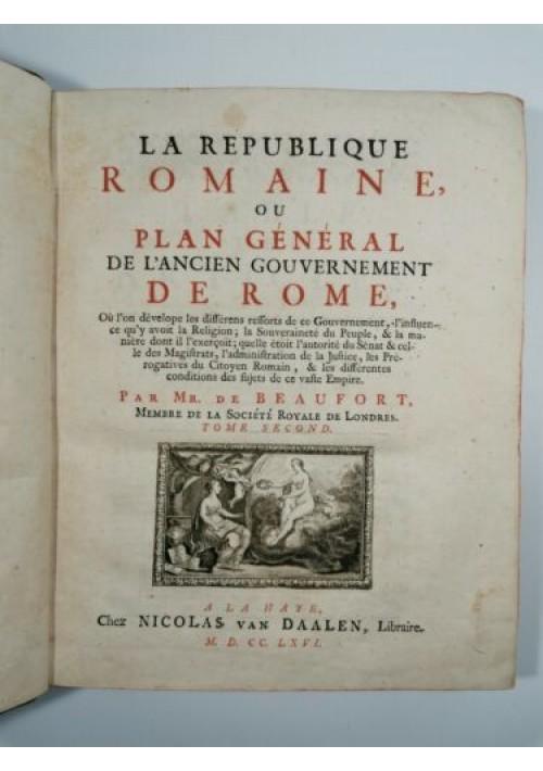 1766 La Republique Romaine Plan General De L'ancien Gouvernement De Rome volume 2