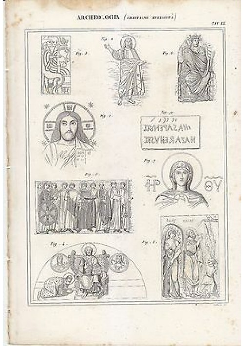 1866 Stampa Originale ARCHEOLOGIA Antichità Cristiane INCISIONE TAVOLA XI ^