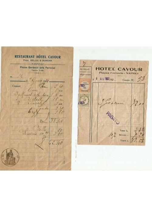2 RICEVUTE del 1921 HOTEL CAVOUR  Napoli Piazza Garibaldi alla ferrovia