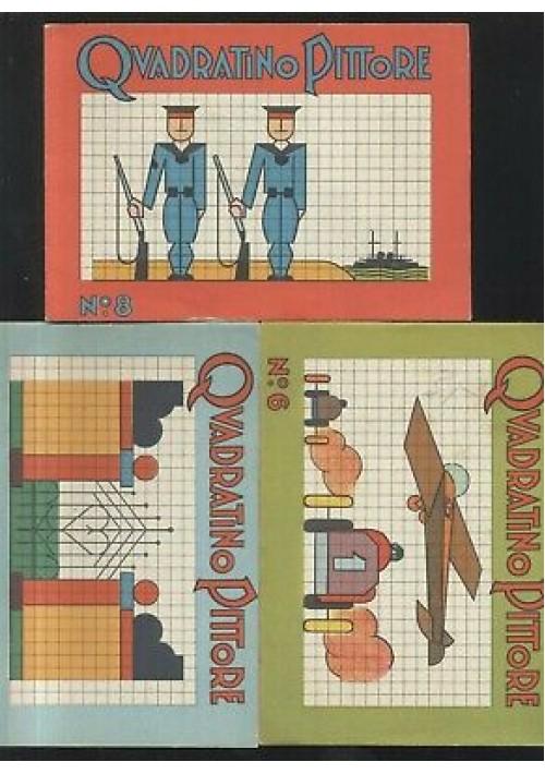 3 ALBI DA COLORARE QUADRATINO PITTORE editrice Piccoli anni '50 numeri 1 6 8