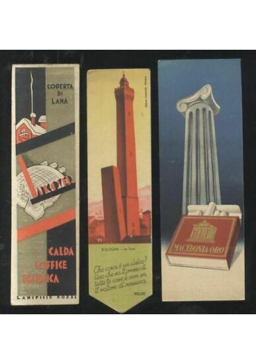 3 SEGNALIBRI anni '50 Tampone Cometa - sigarette macedonia - Lanificio Rossi