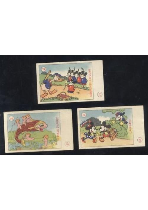 3 figurine TOPOLINO ELAH originali 1936 n. 64 74 99 ottime condizioni paperino
