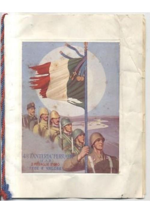 48 FANTERIA FERRARA CAR 2 medaglie oro CARTOLINA MENU PRANZO 7 9 1950 Bari