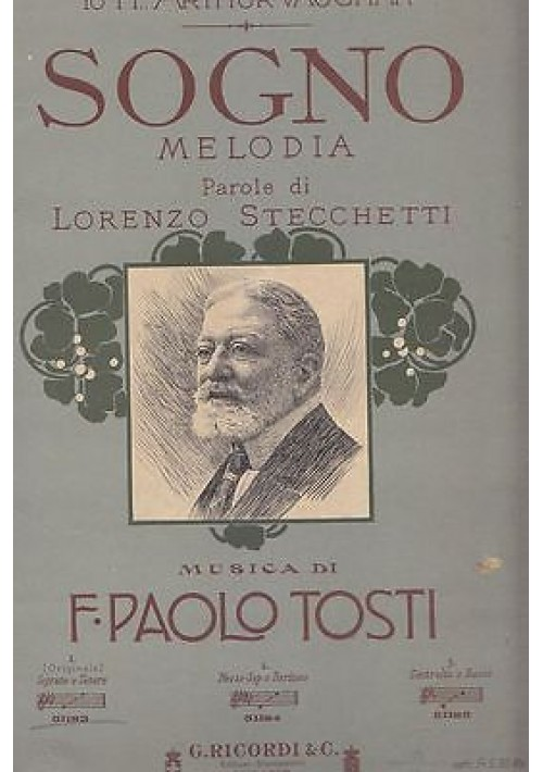 6 SPARTITI di F. Paolo Tosti Pianoforte e testo - Ricordi 1913
