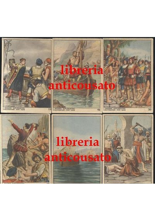 6 figurine Caramelle Alba i grandi esploratori i navigatori Colombo Verrazzano