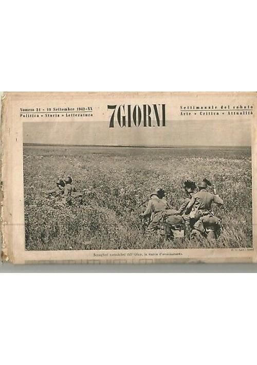 7 GIORNI 19 settembre 1942 settimanale del sabato bersaglieri Armir Pinocchio
