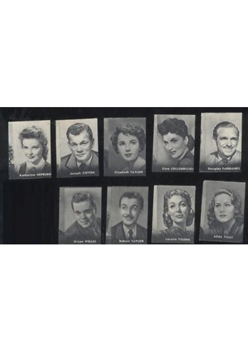 9 FIGURINE NANNINA 1952 ATTORI ATTRICI Orson Welles Elizabet Taylor Lollobrigida