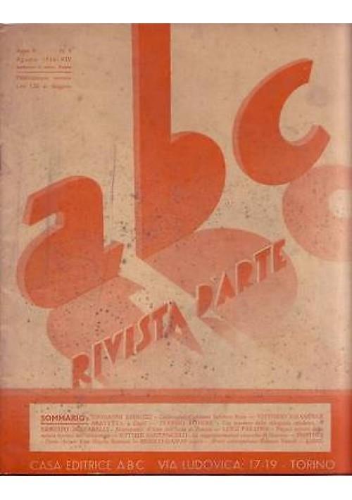 ABC  Rivista d'arte  anno V n.8 agosto 1936 Salvator Rosa - Luigi Servolini