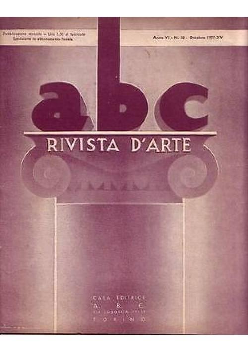 ABC  Rivista d'arte  anno VI n.10 ottobre 1937 Jacopo Callot pubblicità moderna