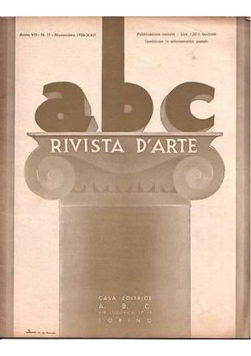 ABC  Rivista d'arte  anno VII n.11 novembre 1938 pubblicità moderna Mario Albano