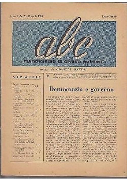ABC  settimanale di critica politica Anno I n 3 - Tipografia Colonna 1953
