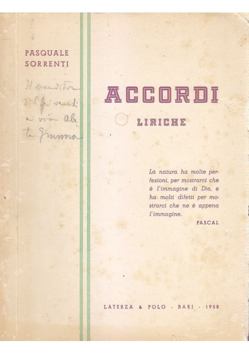 ACCORDI liriche di Pasquale Sorrenti 1958 Laterza e Polo  AUTOGRAFO DELL'AUTORE