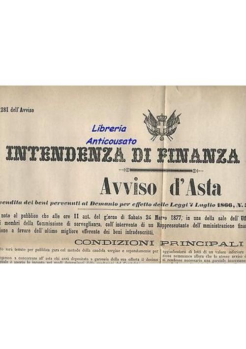 ACQUAVIVA DELLE FONTI MANIFESTO ORIGINALE 1877 AVVISO D'ASTA masseria Sant'Elia