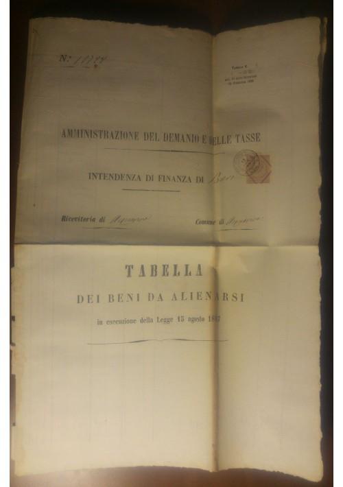 ACQUAVIVA DELLE FONTI SANT'ELIA documento originale 1877 CASSANO MURGE BARI