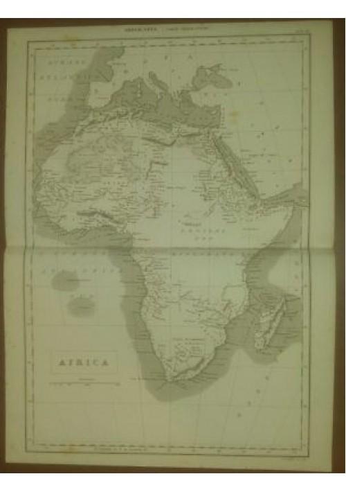 AFRICA CARTA GEOGRAFICA ORIGINALE 1866  INCISIONE STAMPA RAME TAVOLA MAPPA