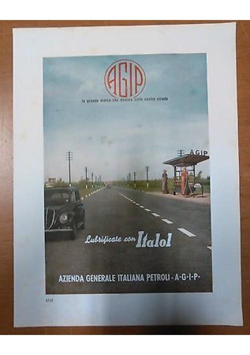 AGIP ITALOL - pubblicità grafica originale 1941 a colori