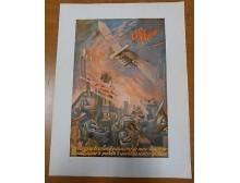 ALFA ROMEO - futurismo - pubblicità grafica originale 1941 a colori bellissima