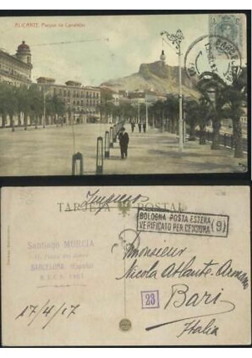 ALICANTE parque de Canalejas - cartolina viaggiata 1917 postcard tarjeta postal