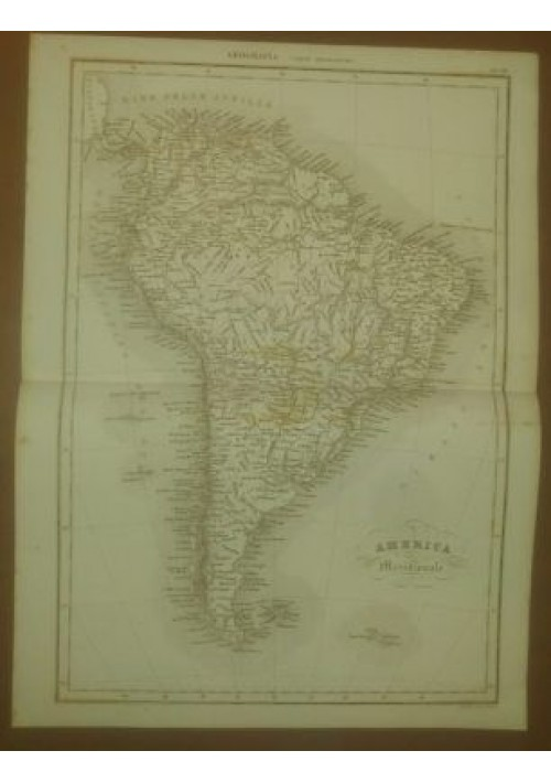AMERICA MERIDIONALE CARTA GEOGRAFICA  INCISIONE STAMPA RAME 1866 TAVOLA
