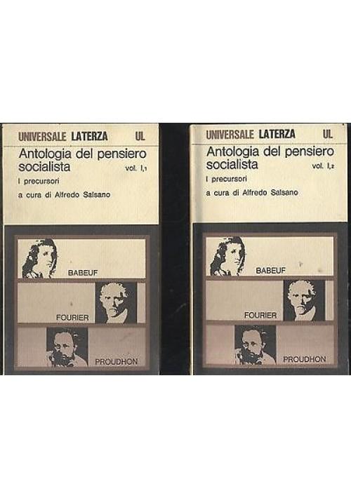 ANTOLOGIA DEL PENSIERO SOCIALISTA I PRECURSORI volume I  cura di Alfredo Salsano