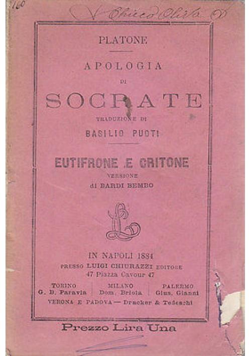 APOLOGIA DI SOCRATE - EUTIFRONE E CRITONE di Platone 1881 Luigi Chiurazzi
