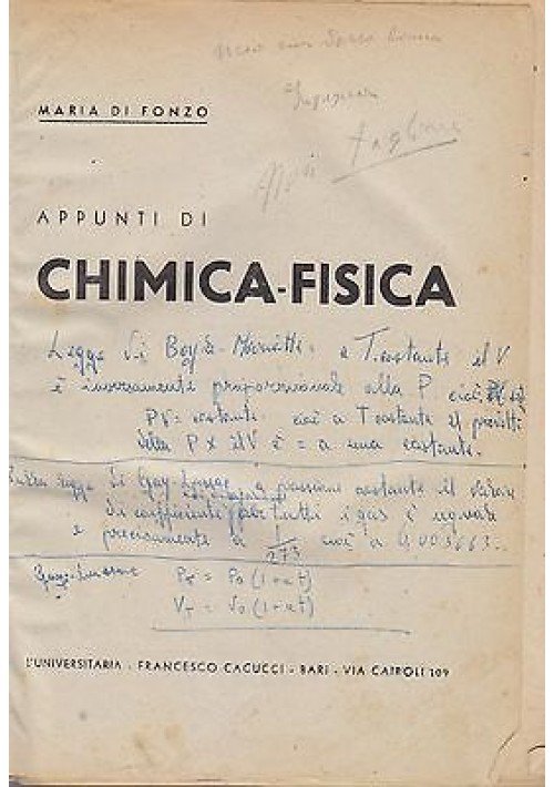 APPUNTI DI CHIMICA FISICA struttura della materia (2 volumi in uno) Di Fonzo