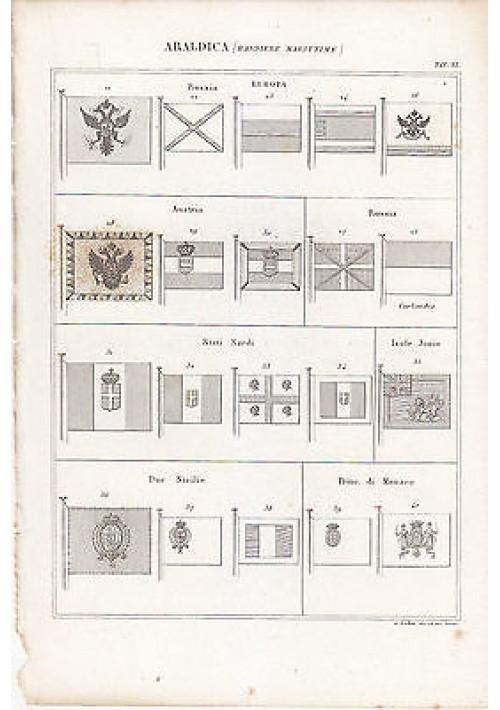 ARALDICA BANDIERE MARITTIME INCISIONE STAMPA RAME 1866 TAVOLA ORIGINALE Austria