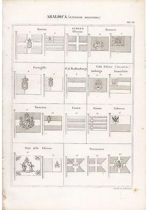 ARALDICA BANDIERE MARITTIME INCISIONE STAMPA RAME 1866 TAVOLA ORIGINALE Grecia