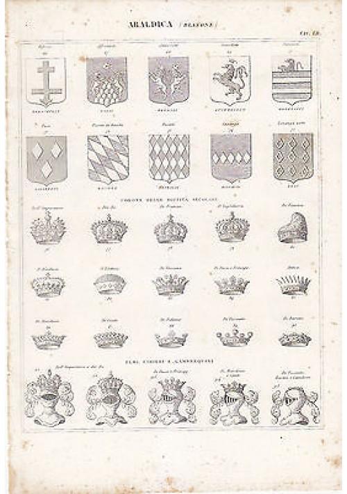 ARALDICA BLASONE INCISIONE STAMPA RAME 1866 TAVOLA ORIGINALE corone dignità elmi
