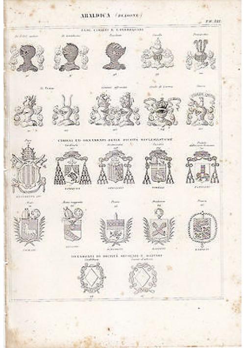 ARALDICA BLASONE INCISIONE STAMPA RAME 1866 TAVOLA ORIGINALE elmi cimieri orname