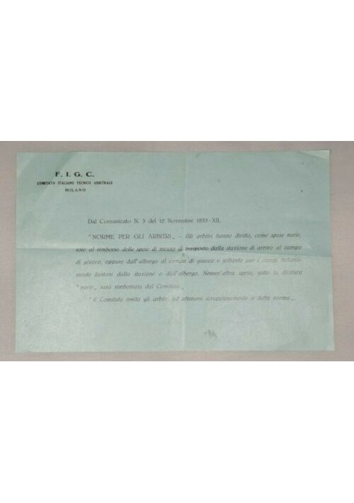 ARBITRI velina originale 1933 fascismo FIGC norme spese da museo documento epoca