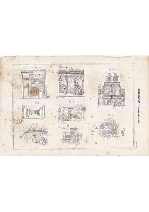 ARCHEOLOGIA ANTICHITà EBRAICHE INCISIONE STAMPA RAME 1866 ORIGINALE TAVOLA XVI
