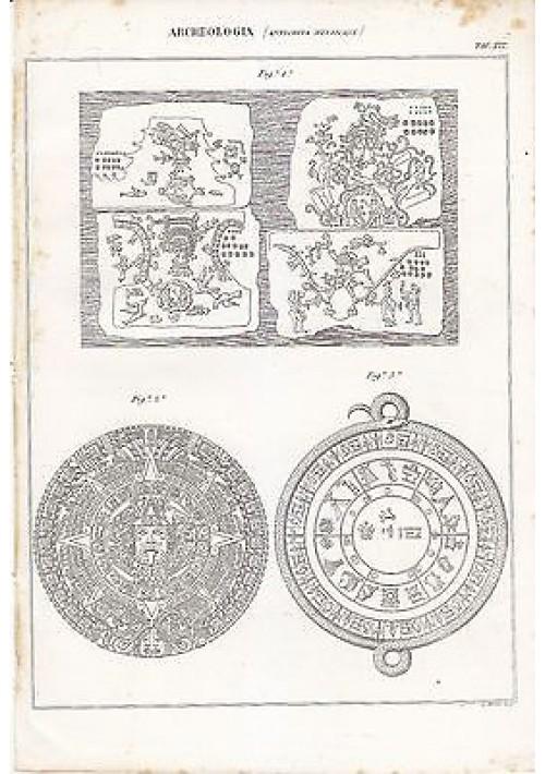 ARCHEOLOGIA ANTICHITà MESSICANE TAVOLA XIX INCISIONE STAMPA RAME 1866 ORIGINALE
