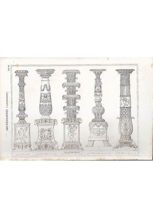 ARCHEOLOGIA CANDELABRO INCISIONE ANTICA STAMPA RAME 1866 ORIGINALE TAVOLA III