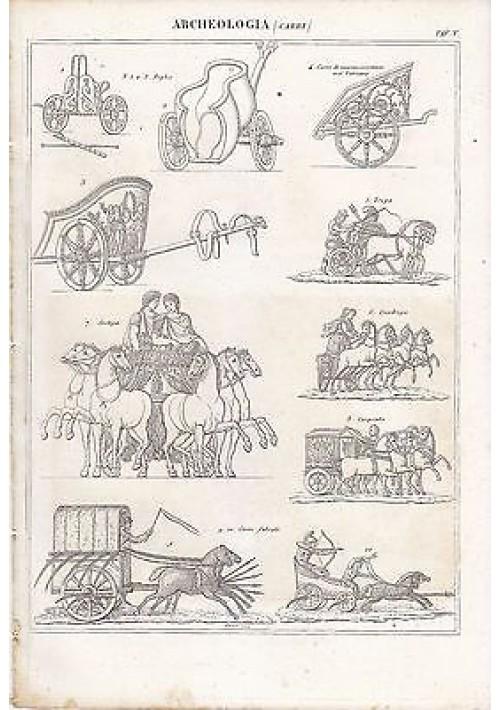 ARCHEOLOGIA CARRI BIGA CARPENTO FALCATI INCISIONE STAMPA RAME 1866 ORIGINALE