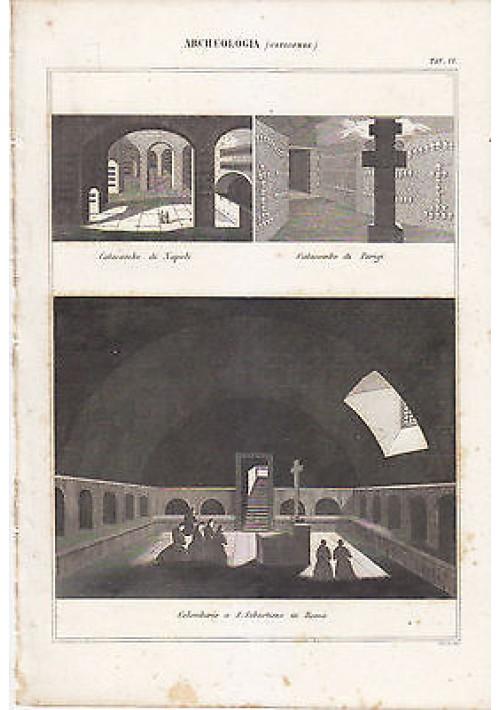 ARCHEOLOGIA CATACOMBE NAPOLI PARIGI ROMA INCISIONE STAMPA RAME 1866 ORIGINALE