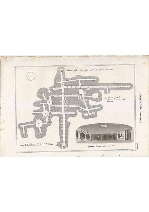 ARCHEOLOGIA CATACOMBE PIANTA INCISIONE STAMPA RAME 1866 ORIGINALE TAVOLA VII