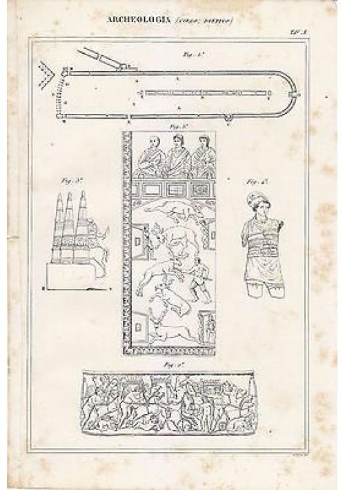 ARCHEOLOGIA CIRCO DITTICO INCISIONE ANTICA STAMPA RAME 1866 ORIGINALE TAVOLA X