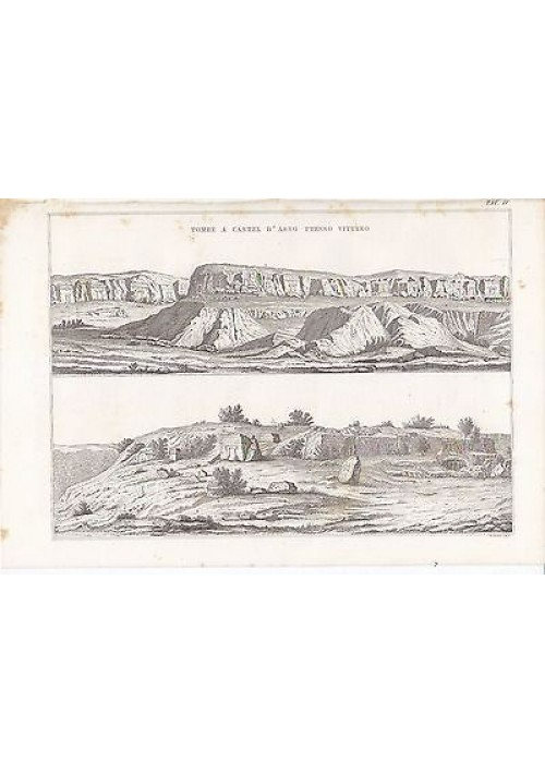 ARCHEOLOGIA TOMBE A CASTEL D ASSO VITERBO INCISIONE STAMPA RAME 1866 ORIGINALE