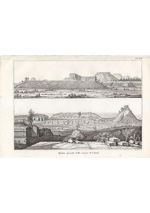 ARCHEOLOGIA VEDUTA GENERALE ROVINE DI UXMAL INCISIONE STAMPA RAME 1866 ORIGINALE