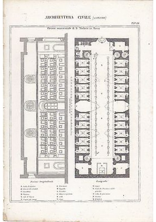 ARCHITETTURA CARCERE SAN MICHELE ROMA INCISIONE STAMPA IN RAME 1866 ORIGINALE