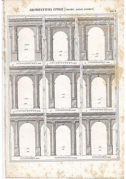 ARCHITETTURA CIVILE ARCATE LOGGE INCISIONE STAMPA IN RAME 1866 TAVOLA ORIGINALE