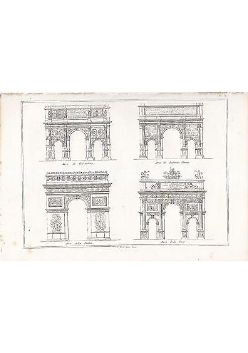 ARCHITETTURA CIVILE ARCO TRIONFO INCISIONE STAMPA IN RAME 1866 TAVOLA ORIGINALE