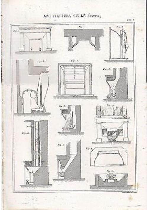1866 Incisione Antica CAMINO stampa ARCHITETTURA CIVILE TAVOLA ORIGINALE