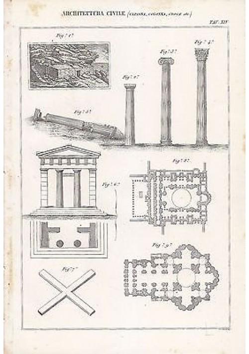 ARCHITETTURA CIVILE CAPANNA COLONNA CROCI INCISIONE STAMPA RAME 1866 ORIGINALE