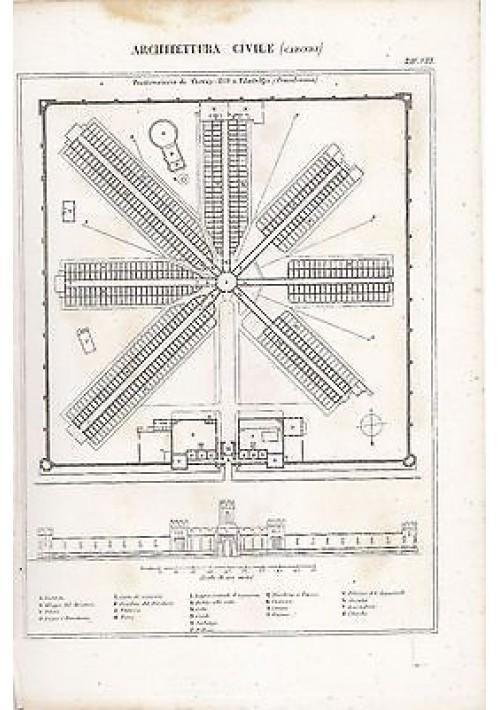 ARCHITETTURA CIVILE CARCERI INCISIONE STAMPA IN RAME 1866 TAVOLA ORIGINALE