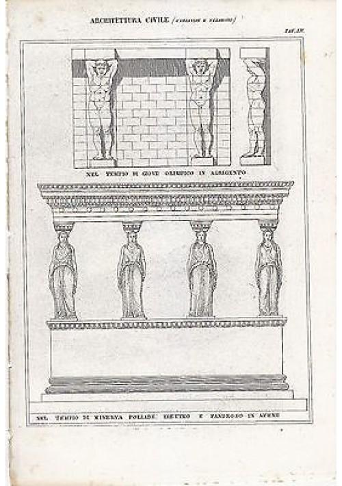 ARCHITETTURA CIVILE CARIATIDI TELAMONI INCISIONE STAMPA IN RAME 1866 ORIGINALE