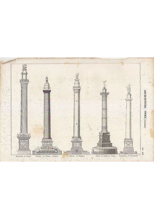 ARCHITETTURA CIVILE COLONNE LONDRA BOULOGNE INCISIONE STAMPA RAME 1866 ORIGINALE